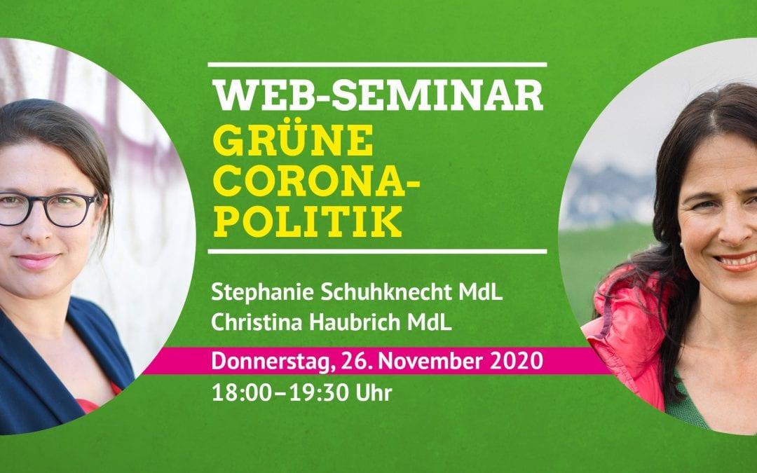 Web-Seminar Grüne Corona-Politik mit Christina Haubrich & Stephanie Schuhknecht